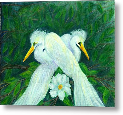 Metal Print featuring the painting Snowy Egrets by Jeanne Kay Juhos