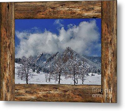 Snowy Flatirons Boulder Colorado Rustic Cabin Window View Metal Print by James BO Insogna