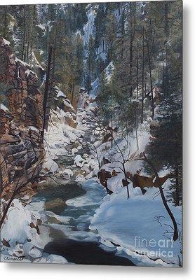 Snowy Forest Stream Metal Print by Barbara Barber