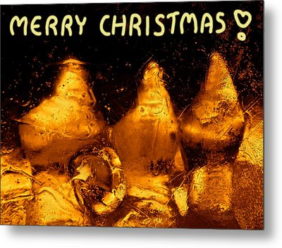 Snowy Ice Bottles - Christmas Greetings Metal Print by Sami Tiainen