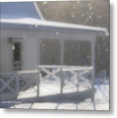 Snowy Maine Farmhouse Metal Print by Lyana Votey