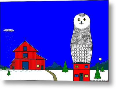 Snowy Owl On Red House. Metal Print by Richard Magin