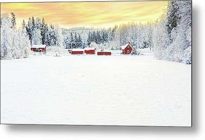 Snowy Ranch At Sunset Metal Print