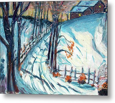 Snowy Road Metal Print by Carolyn Donnell