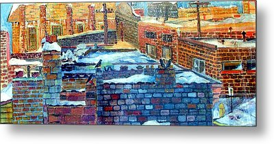 Snowy Roof Tops Metal Print by Mindy Newman
