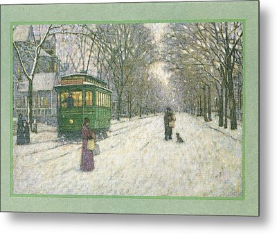 Snowy Scene With Old Fashioned Metal Print by Gillham Studios