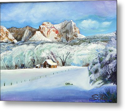 Metal Print featuring the painting Snowy Sugar Knoll by Sherril Porter