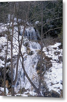Snowy Waterfall Metal Print