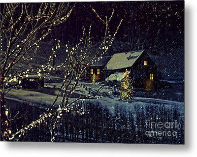 Snowy Winter Scene Of A Cabin In Distance  Metal Print by Sandra Cunningham
