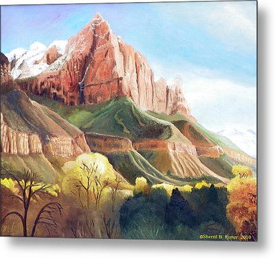 Metal Print featuring the painting Snowy Zion's Watchman by Sherril Porter