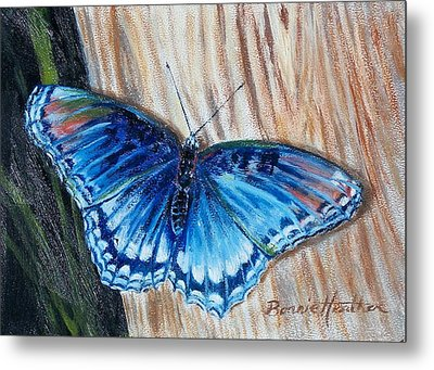 Metal Print featuring the painting So Blue by Bonnie Heather