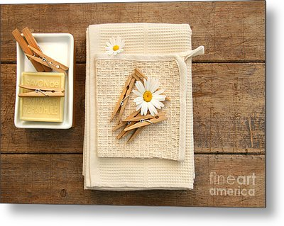 Soap Clothespins And Towels  Metal Print by Sandra Cunningham