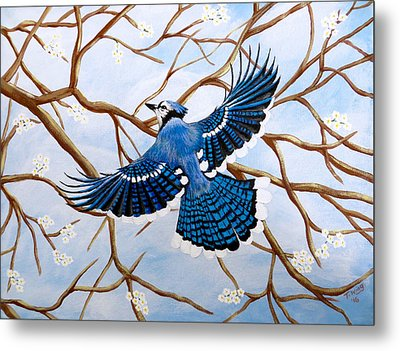 Metal Print featuring the painting Soaring Blue Jay  by Teresa Wing