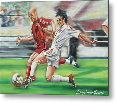 Soccer Battle Metal Print by Darryl Matthews