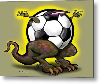Soccer Saurus Rex Metal Print by Kevin Middleton