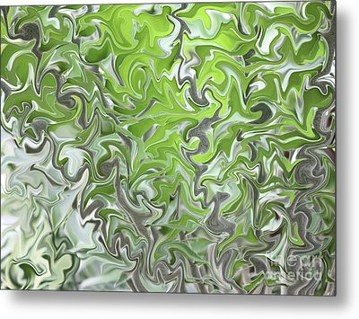 Soft Green And Gray Abstract Metal Print by Carol Groenen