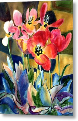 Soft Quilted Tulips Metal Print by Kathy Braud