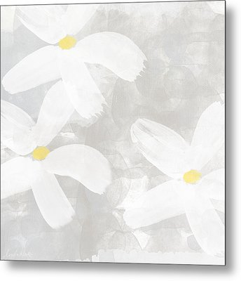 Soft White Flowers Metal Print by Linda Woods