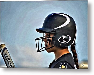 Softball Beauty Girl Metal Print by Marian Palucci-Lonzetta