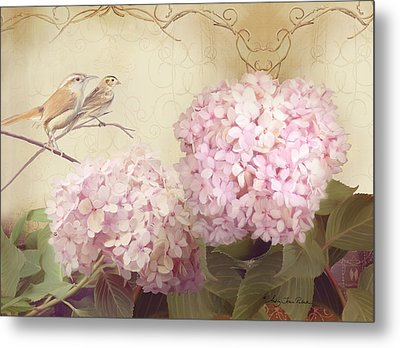 Softly Summer - Carolina Wrens W Blush Pink Hydrangeas Metal Print by Audrey Jeanne Roberts