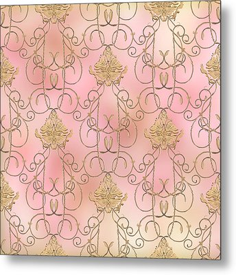 Softly Summer - French Parisian Apartment Damask Metal Print by Audrey Jeanne Roberts