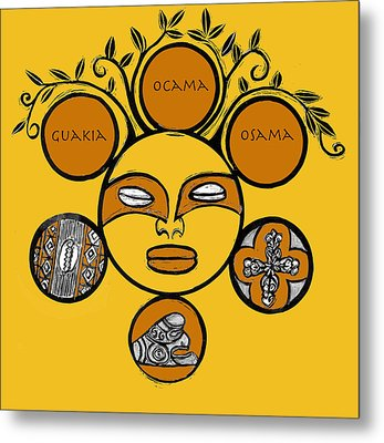Metal Print featuring the drawing Sol Taino by Aurora Levins Morales