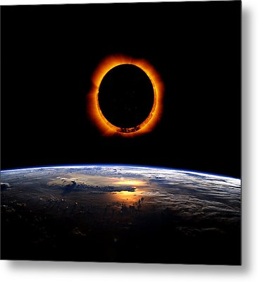 Solar Eclipse From Above The Earth Metal Print