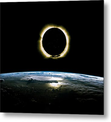 Solar Eclipse From Above The Earth - Infrared View Metal Print