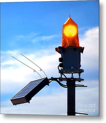 Solar Powered Marine Safety Orange Beacon Light  Metal Print by Olivier Le Queinec