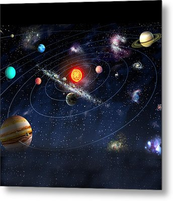 Metal Print featuring the digital art Solar System by Gina Dsgn