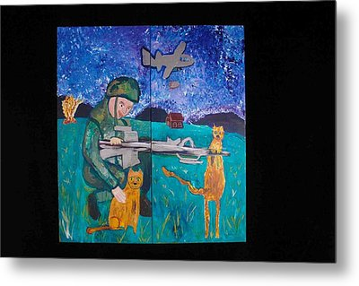 Soldier And Two Cats Metal Print by AJ Brown