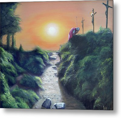 Soldier At The Cross Metal Print by Larry Cole
