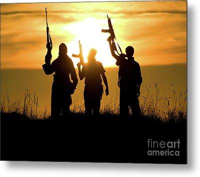 Soldiers Against A Sunset Metal Print by Oleg Zabielin