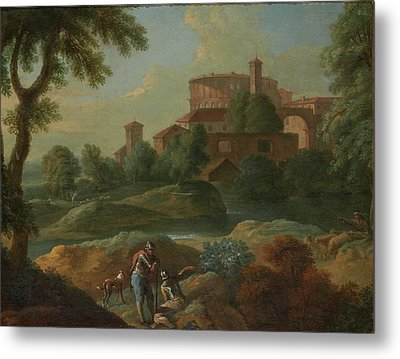 Soldiers And Dogs Near A River Metal Print by Marcantonio