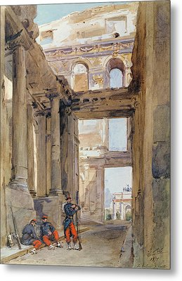 Soldiers In The Ruins Of The Tuileries Metal Print by Isidore Pils
