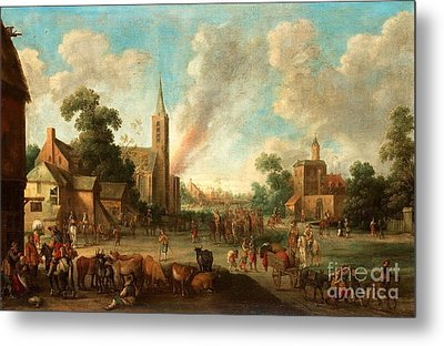 Soldiers Occupy The Village Metal Print by MotionAge Designs