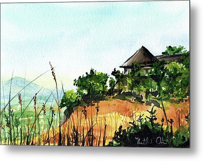 Metal Print featuring the painting Solitary Cottage In Malawi by Dora Hathazi Mendes