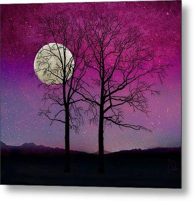 Solitude II Harvest Moon, Pink Opal Sky Stars Metal Print