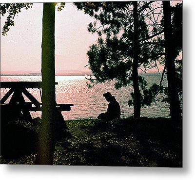 Solitude On A Golden Lake Metal Print by George Cousins
