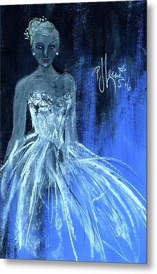 Metal Print featuring the painting Something Blue by P J Lewis