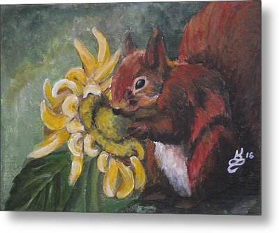 Sometimes We Have To Stop And Smell The...sunflower? Metal Print