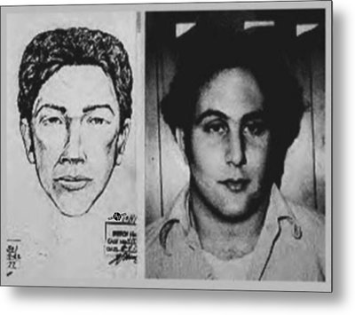 Son Of Sam David Berkowitz Mug Shot And Police Sketch Metal Print by Tony Rubino