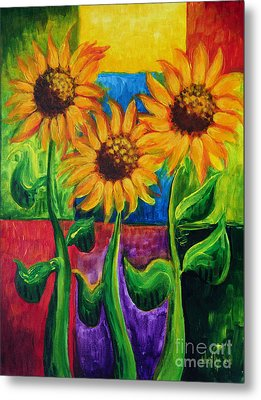 Metal Print featuring the painting Sonflowers II by Holly Carmichael