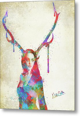Song Of Elen Of The Ways Antlered Goddess Metal Print by Nikki Marie Smith