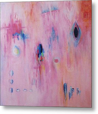 Working Through The Layers Pink Metal Print by Suzzanna Frank