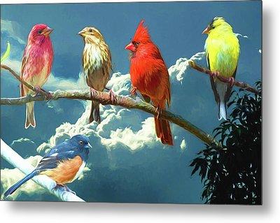 Songbirds Ala Van Gogh Metal Print by John Haldane