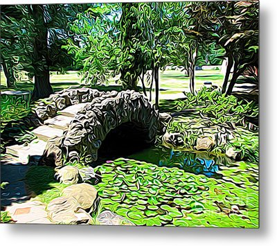Sonnenberg Gardens Japanese Garden Bridge And Waterlily Pond Expressionist Effect Metal Print by Rose Santuci-Sofranko