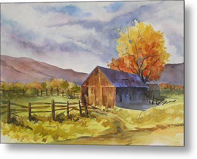 Metal Print featuring the painting Sonora Barn by Pat Crowther