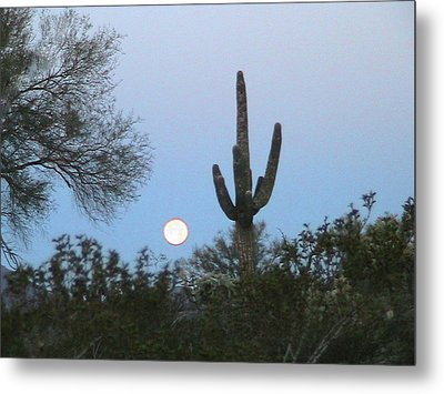 Sonoran Desert Moonset Metal Print