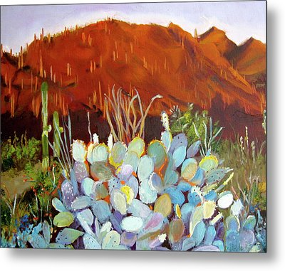 Metal Print featuring the painting Sonoran Sunset by Julie Todd-Cundiff